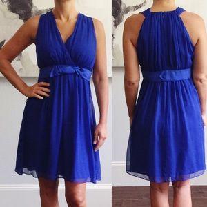 NWT Ann Taylor Blue Silk Sleeveless Dress 4 A37